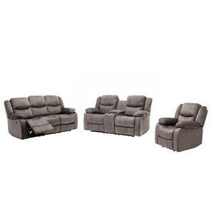 Ensemble de sofas inclinables modernes Reading de HomeTrend, polyester/mélange de polyester, gris pâle, 3 pièces