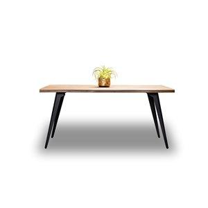 Table de salle à manger rectangulaire fixe Ivanhoe de HomeTrend, bois de placage, marron