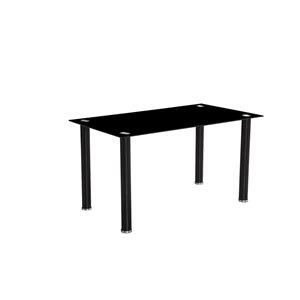 Table de salle à manger rectangulaire fixe Florian de HomeTrend, verre, noir