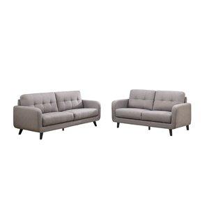 Sofa/causeuse mi-siècle Juneau de HomeTrend, polyester/mélange de polyester, gris pierre