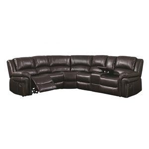 Sofa modulaire inclinable moderne Cara de HomeTrend, cuir, marron