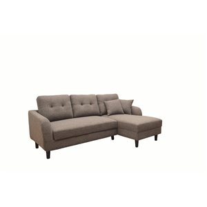 Sofa modulaire moderne Bobby de HomeTrend, polyester/mélange de polyester, brun/gris