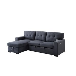 Sofa modulaire décontracté Edison de HomeTrend, polyester/mélange de polyester, gris foncé