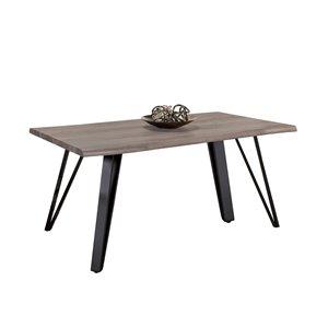 Table de salle à manger rectangulaire fixe Carrie de HomeTrend, bois de placage, gris