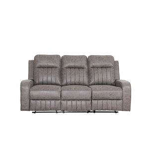 Sofa inclinable moderne Charles de HomeTrend, microfibre, gris neutre