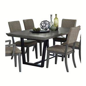 Table de salle à manger rectangulaire avec rallonge Avenhorn de HomeTrend, bois de placage, gris et noir