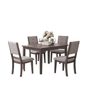 Mazin Industries Nisky Rectangular Fixed Dining Table - Wood - Grey