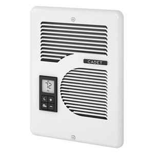 Radiateur mural électrique Energy Plus CE de Cadet avec grille de 9 L x 6H, 1600 W, 208/240 V, blanc