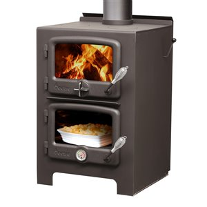 Nectre Firewood Wood Stove N350 - 1000-sq. ft Heating Area - Black