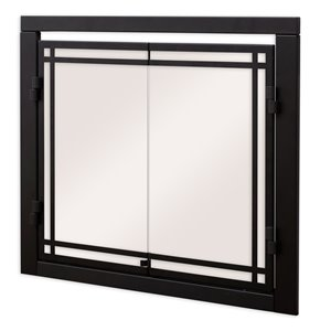 Dimplex Cabinet-Style Revillusion Fireplace Door with Tempered Glass - 30-in to 37-in W x25-1/2-in to 32-1/2-in H - Clear/Blac