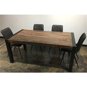 Ens. de salle à manger Zen de Corcoran avec table en bois de Sheesham, 36 po x 70 po, chaises en tissu gris, 5 pièces
