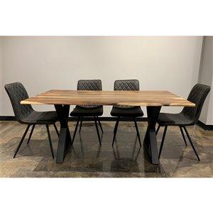 Ens. de salle à manger Zen de Corcoran avec table en bois de Sheesham, 36 po x 67 po, 5 pièces