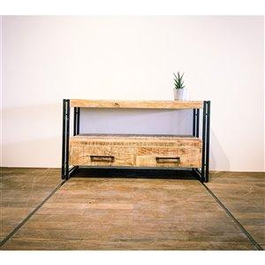 Meuble pour télévision rustique Zen de Corcoran à 2 tiroirs, 43 po x 24 po, bois de manguier pâle