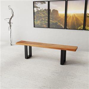 Banc de salle à manger rectangulaire Zen de Corcoran en bois d'Acacia, 72 po, pattes en métal noir en forme de U