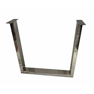 Patte de table contemporaine en U de Corcoran, 3 po x 28 po, acier inoxydable