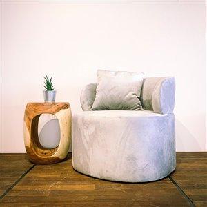 Fauteuil d'appoint moderne en velours Zen Corcoran, gris béton