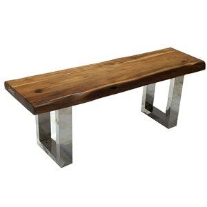 Banc de salle à manger rectangulaire Zen de Corcoran en bois d'Acacia, 48 po, pattes en acier inoxydable en forme de X