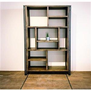 Bibliothèque industrielle verticale/horizontale à 10 tablettes Zen de Corcoran, bois naturel/métal