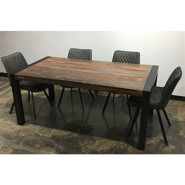 Ens. de salle à manger Zen de Corcoran, table en bois de Sheesham et chaises en tissus gris, 36 po x 70 po, 5 pièces