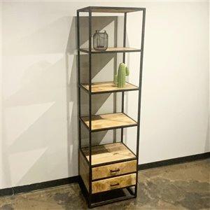 Bibliothèque verticale industrielle à 4 tablettes Zen de Corcoran, bois naturel/métal
