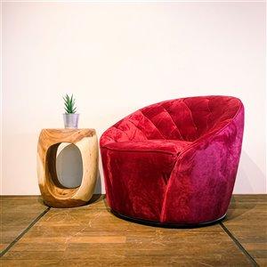 Fauteuil d'appoint moderne en velours Zen Corcoran, rouge rubis