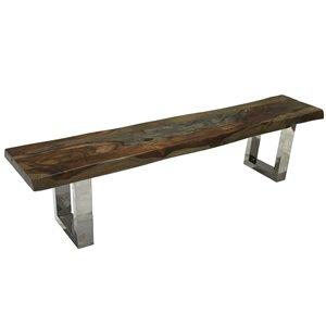 Banc de salle à manger Zen de Corcoran en bois de Sheesham, 84 po, bois brun foncé/pattes en acier inoxydable en forme de U