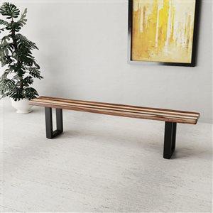 Banc de salle à manger rectangulaire Zen de Corcoran en bois de Sheesham, 84 po, pattes en métal noir en forme de U