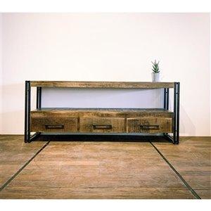Meuble pour télévision rustique Zen de Corcoran à 3 tiroirs, 59 po x 24 po, bois de manguier