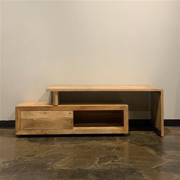Meuble pour télévision extensible contemporain/moderne Zen de Corcoran, 50 po x 21 po, bois de manguier pâle
