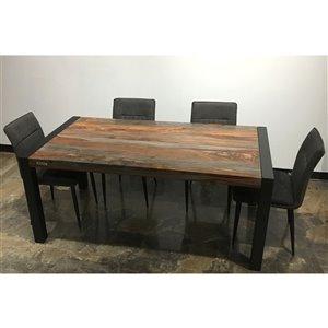 Ens. de salle à manger Zen de Corcoran avec table en bois de Sheesham, 36 po x 70 po, 5 pièces