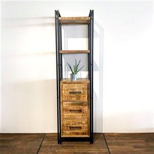 Bibliothèque verticale industrielle à 2 tablettes Zen de Corcoran, bois naturel/métal