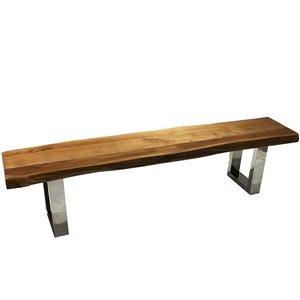 Banc de salle à manger rectangulaire Zen de Corcoran en bois d'Acacia, 72 po, pattes en acier inoxydable en forme de U