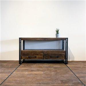 Meuble pour télévision rustique Zen de Corcoran à 2 tiroirs, 43 po x 24 po, bois de manguier foncé