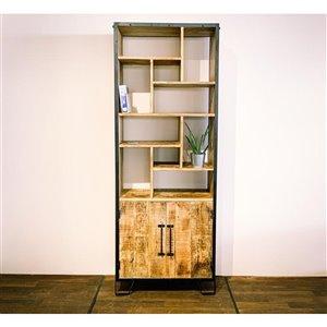 Bibliothèque verticale industrielle à 11 tablettes Zen de Corcoran, bois naturel/métal