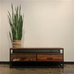 Meuble pour télévision rustique Zen de Corcoran à 2 tiroirs, 60 po x 22 po, bois recyclé