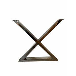 Patte de table contemporaine en X de Corcoran, 3 po x 22 po, acier inoxydable