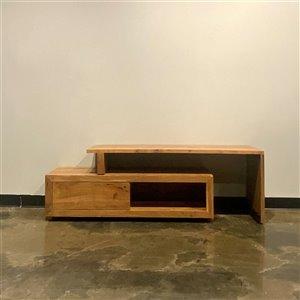 Meuble pour télévision extensible contemporain/moderne Zen de Corcoran, 50 po x 21 po, bois de manguier