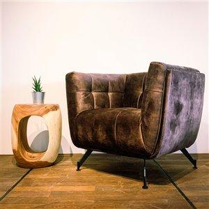 Fauteuil d'appoint moderne en velours Zen Corcoran, brun