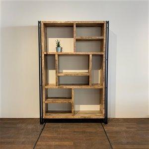 Bibliothèque industrielle verticale/horizontale à 10 tablettes Zen de Corcoran, bois naturel pâle/métal
