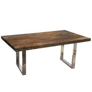 Table à diner rectangulaire Zen de Corcoran en bois de Sheesham, 84 po, pattes chromées