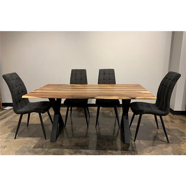 Ens. de salle à manger Zen de Corcoran, table en bois de Sheesham et chaises en tissus gris, 36 po x 67 po, 5 pièces