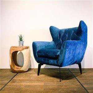 Fauteuil d'appoint moderne en velours Zen Corcoran, bleu lagon
