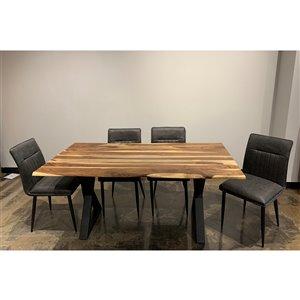 Ens. 5 pièces de salle à manger Zen de Corcoran avec table en bois de Sheesham, 36 po x 67 po, chaises en tissu gris