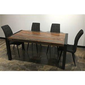 Ens. 5 pièces de salle à manger Zen de Corcoran avec table en bois de Sheesham, 36 po x 70 po, chaises en tissu gris