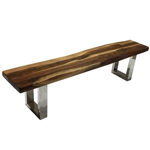 Banc de salle à manger rectangulaire Zen de Corcoran en bois de Sheesham, 84 po, pattes en acier inoxydable en forme de U