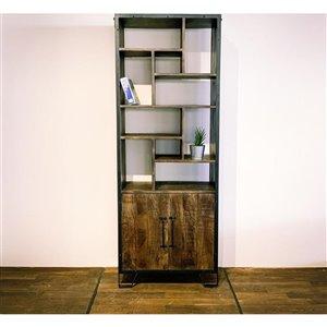 Bibliothèque verticale industrielle à 11 tablettes Zen de Corcoran, bois naturel foncé/métal