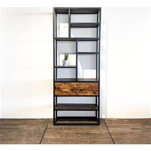 Bibliothèque verticale industrielle à 6 tablettes Zen de Corcoran, bois naturel foncé/métal