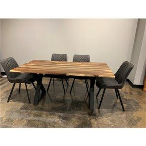 Ens. de salle à manger Zen de Corcoran avec table en bois de Sheesham, 36 po x 67 po, chaises en tissu gris, 5 pièces
