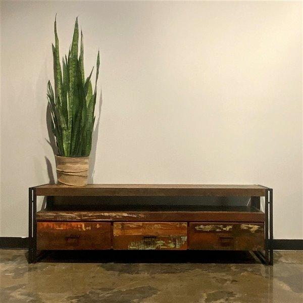 Meuble pour télévision rustique à 3 tiroirs Zen de Corcoran, 70 po x 22 po, bois recyclé