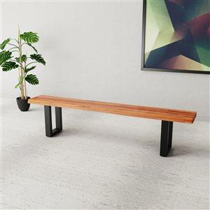 Banc de salle à manger rectangulaire Zen de Corcoran en bois d'Acacia, 84 po, pattes en métal noir en forme de U